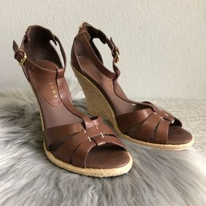 Ivanka Trump brown leather espadrille wedges 7.